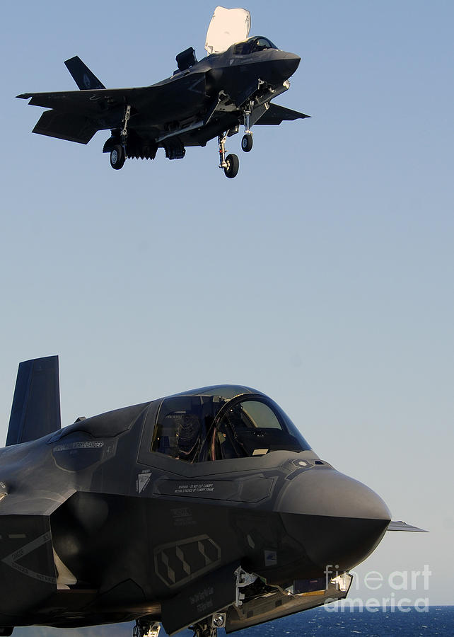 Aerospace Photograph - F-35b Lighnting II Variants Land Aboard by Stocktrek Images