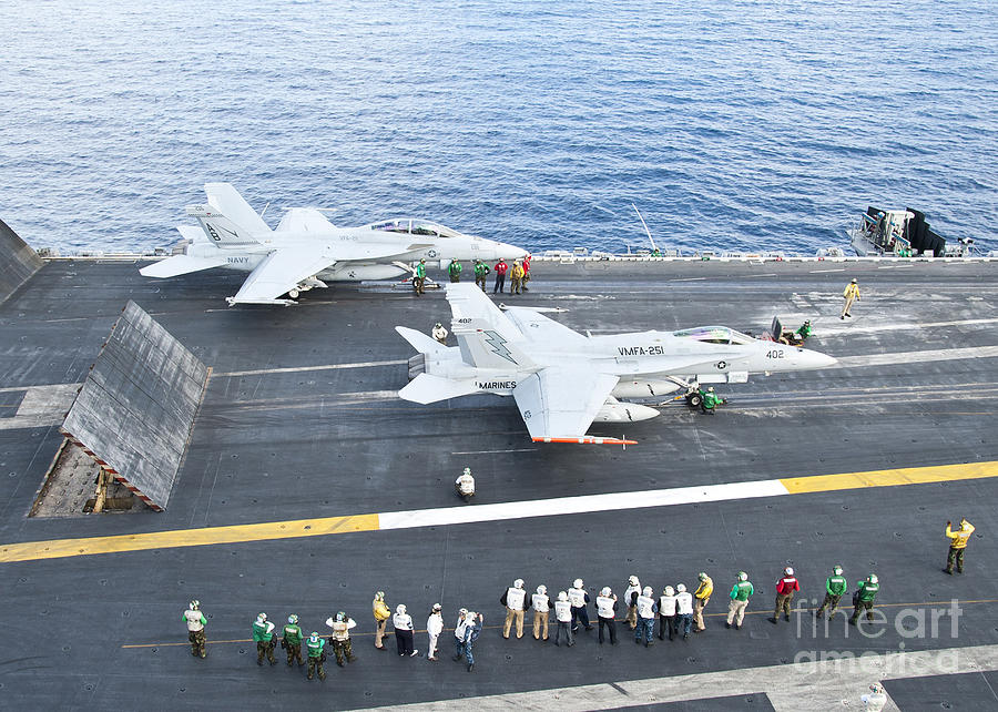 F-18 Super Hornet Photograph - Fa-18 Aircraft Prepare To Take by Stocktrek Images
