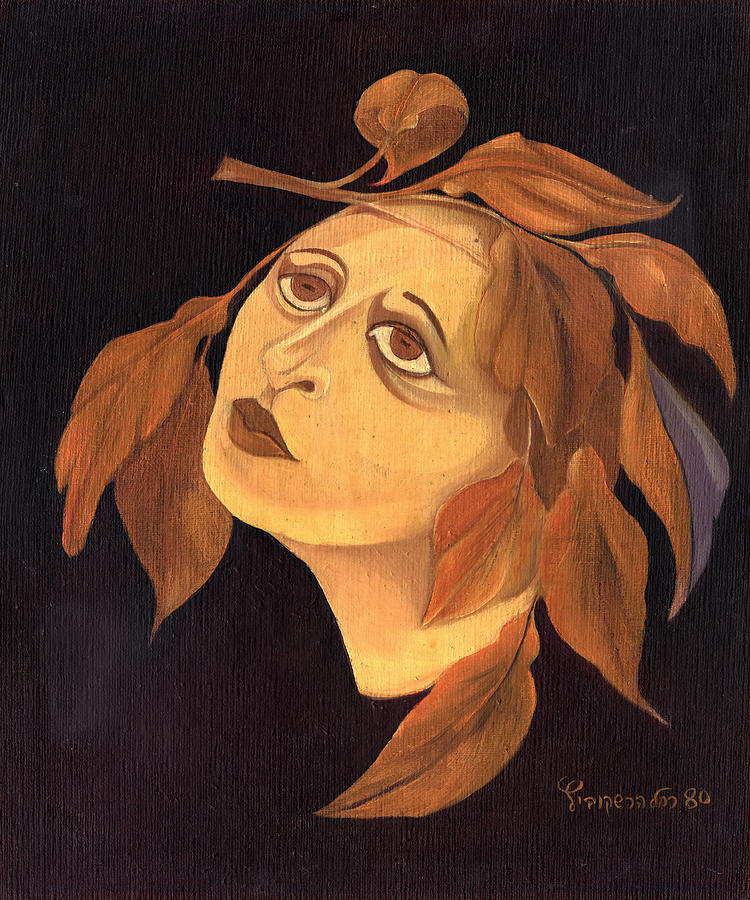 Woman Painting - Face In Autumn Leaves by Rachel Hershkovitz