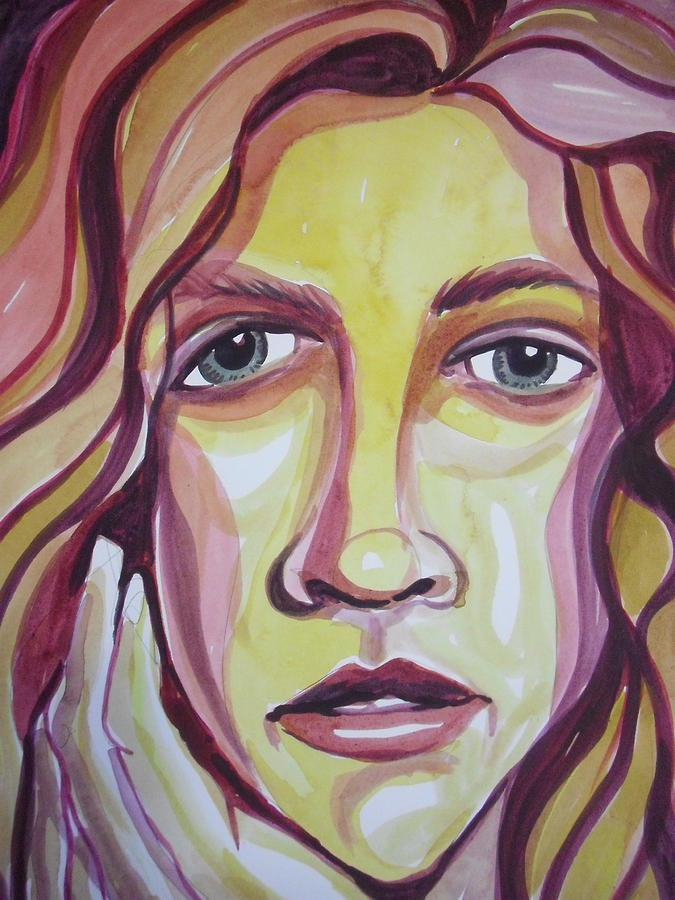 Portrait Painting - Face Of A Girl by Aleksandra Buha