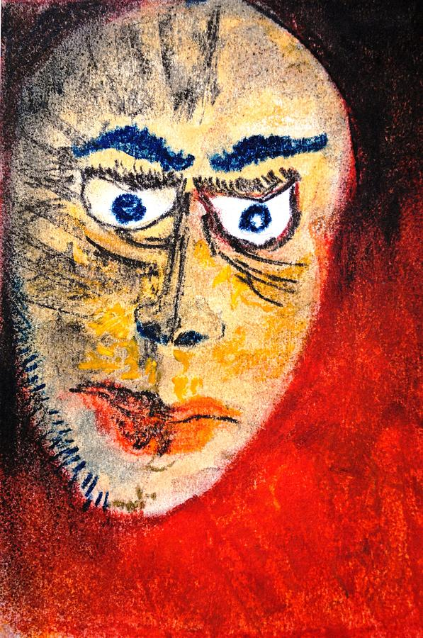 Red Painting - Face One by Mayank Gupta