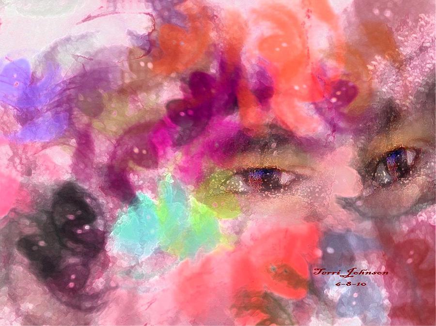 Abstract Digital Art - Face by Terri Johnson