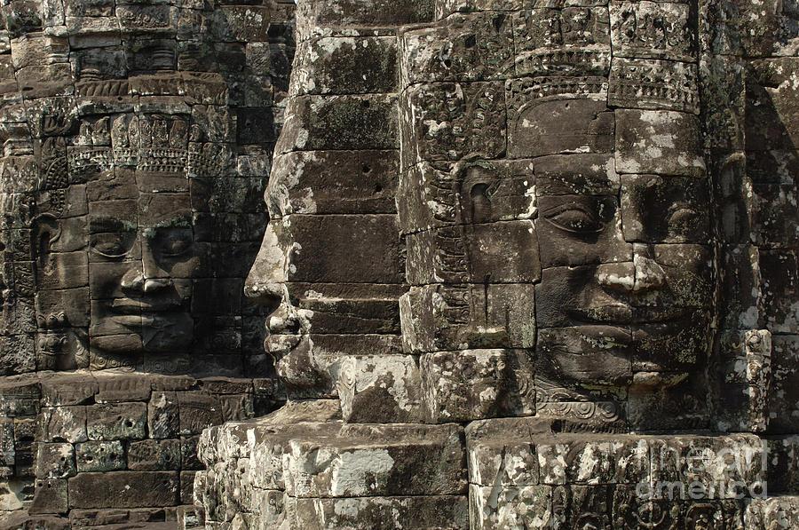 Angkor Wat Photograph - Faces Of Banyon Angkor Wat Cambodia by Bob Christopher