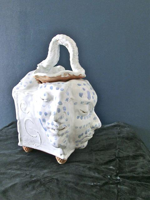 White Container With Faces With Blue Spots. Ceramic Art - Faces With Blue Spots by Roger Leighton