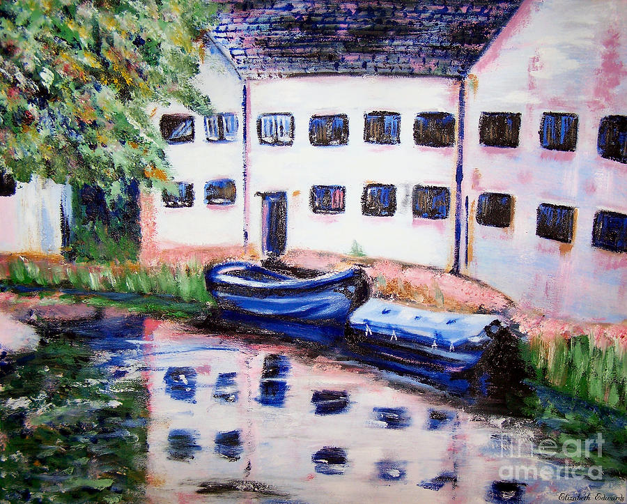 Boat Painting - Factory On The River by Isabella F Abbie Shores FRSA