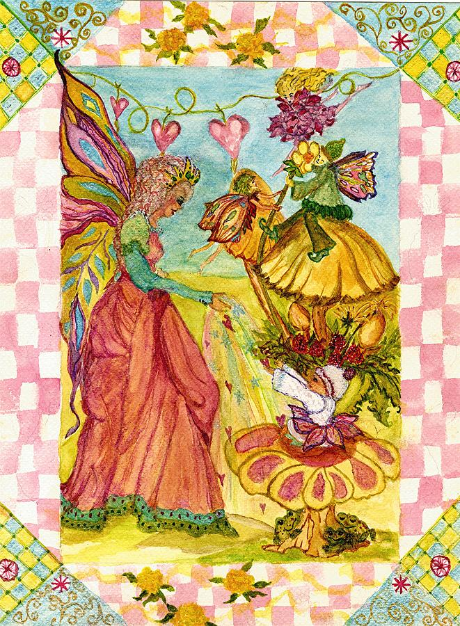 Faeries Painting - Faeries And Frogs Fantasy by Cheryl Carrabba