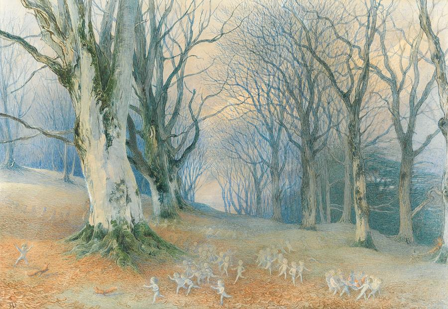 Woods Painting - Fairies And Squirrels by Richard Doyle