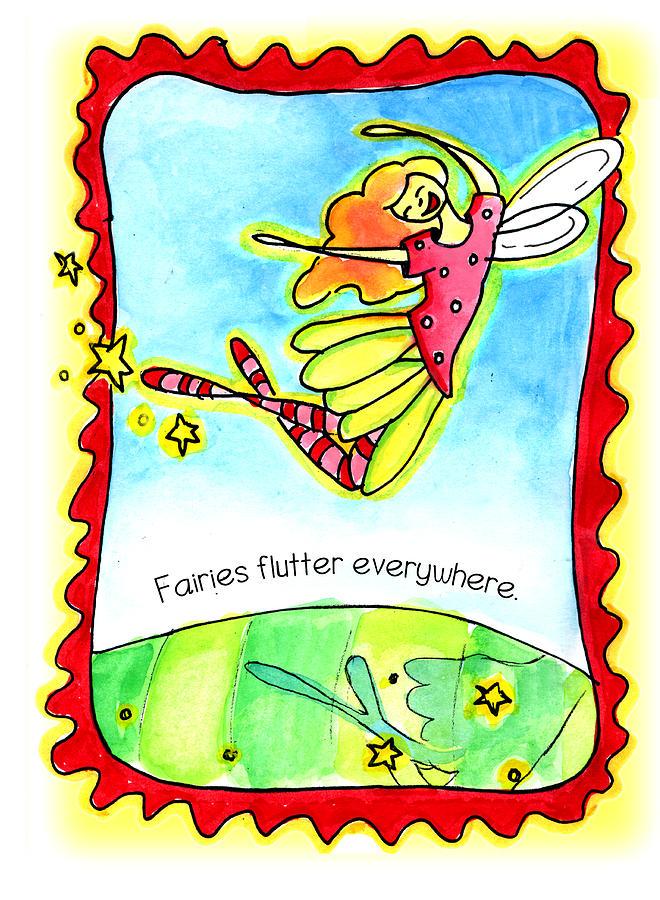 Fae Mixed Media - Fairies Flutter Everywhere by Nada Meeks