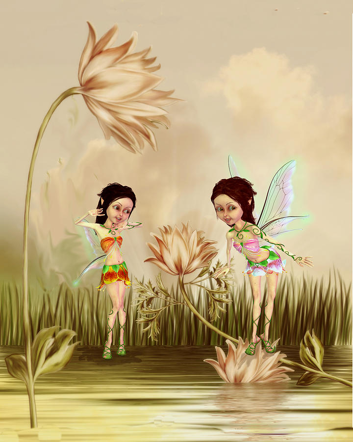 Fairies In The Garden Digital Art - Fairies in the garden by John Junek