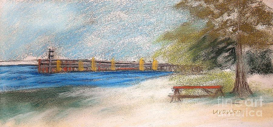 Landscape Drawing - Fairport Harbor Pier by Lisa Urankar