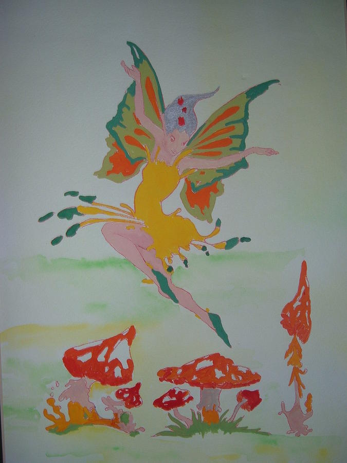 Toadstools Painting - Fairy Over The Toadstools by Susanne Lawrence BA Hons