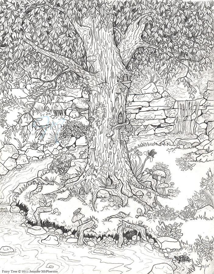 Fairy Tree Drawing by Jennifer McPherson