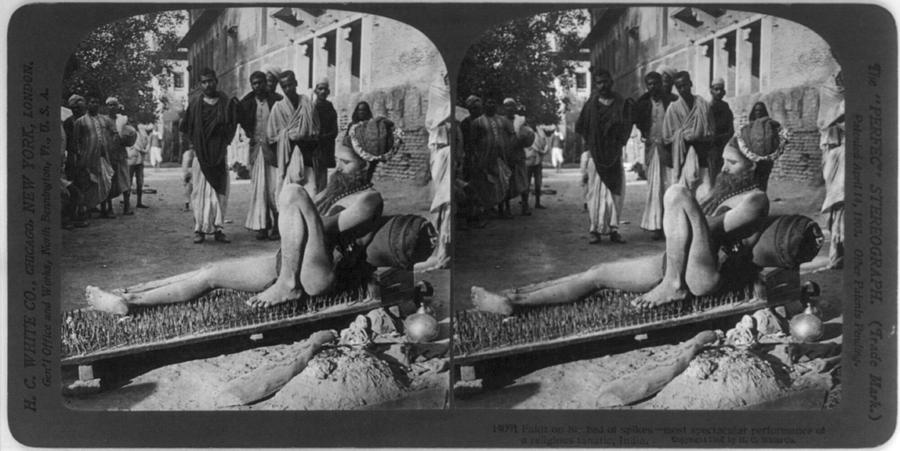 1900s Photograph - Fakir On His Bed Of Spikes by Everett