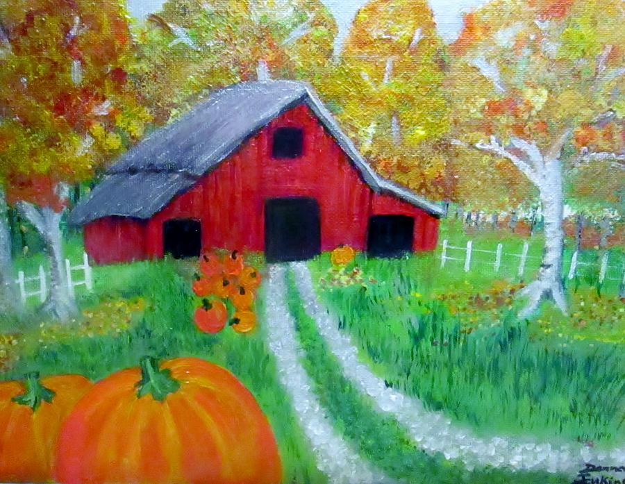 Pumpkins Painting - Fall And Pumpkin Harvest by Donna Jenkins