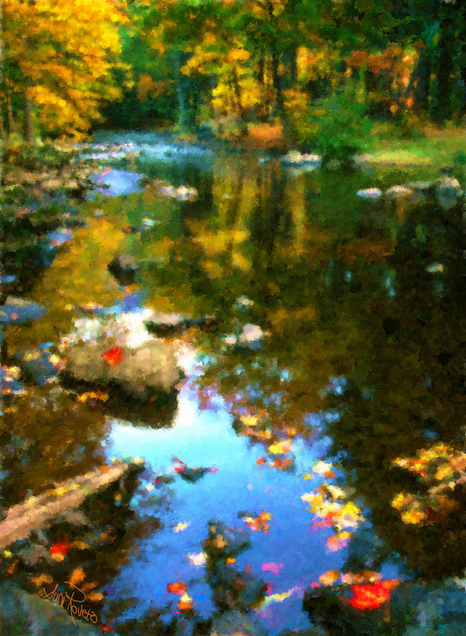 Nature Painting - Fall Color At The River by Suni Roveto