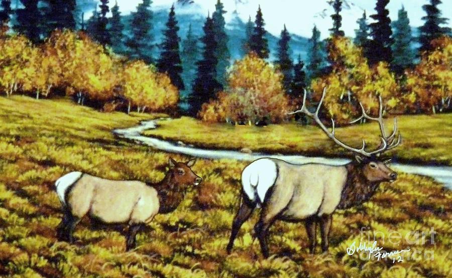 Elk Painting - Fall Elk by Bobbylee Farrier