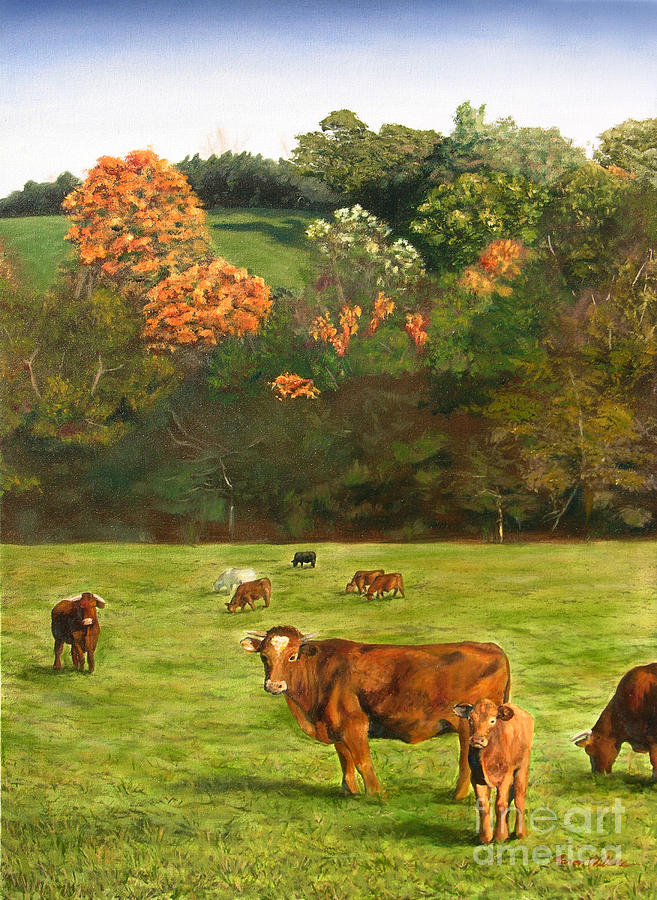 Cow Painting - Fall Grazing on the Meadow by Aaron Wilbers