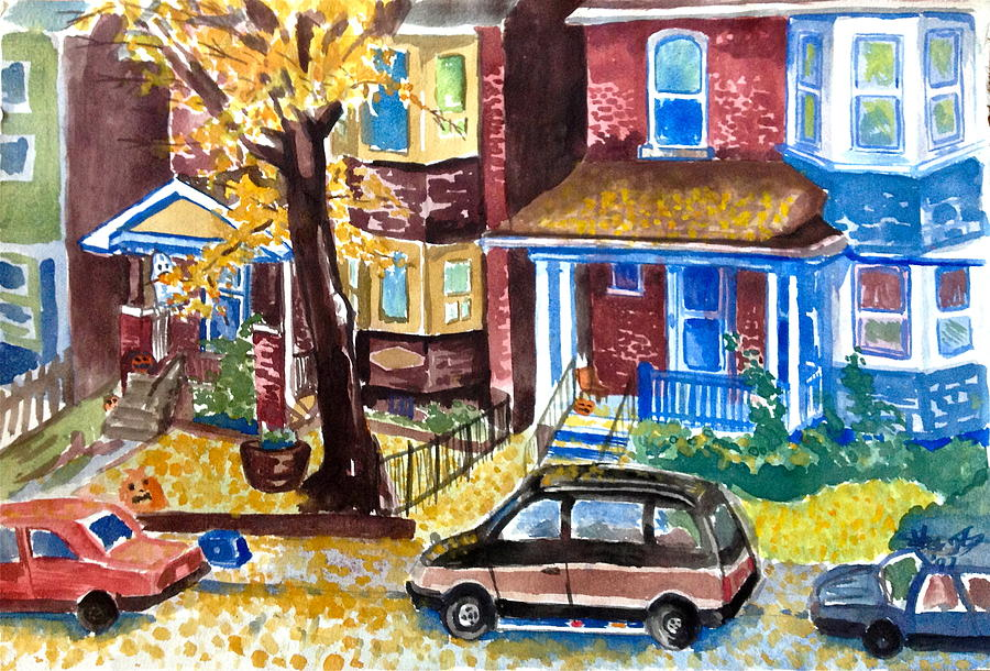 Watercolour Painting - Fall In Toronto by Mike N