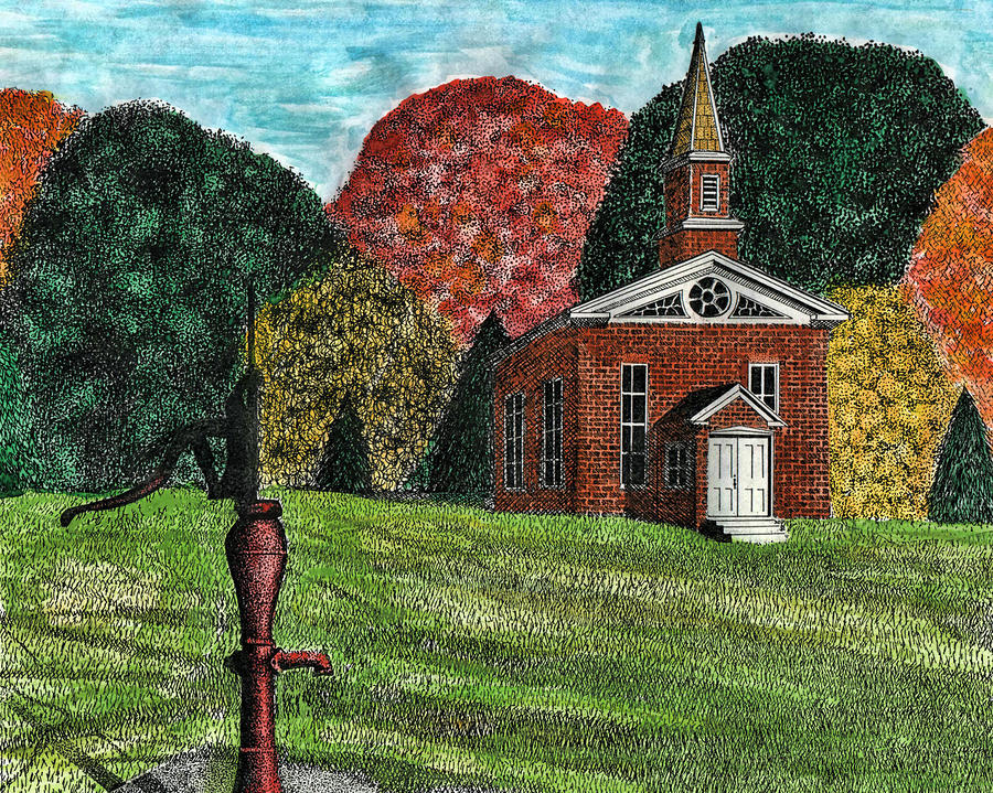 Church Drawing - Fall Is Coming by Mike OBrien