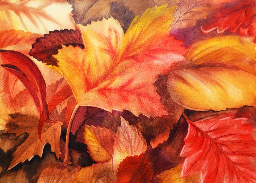 Fall Leaves Painting by Irina Sztukowski