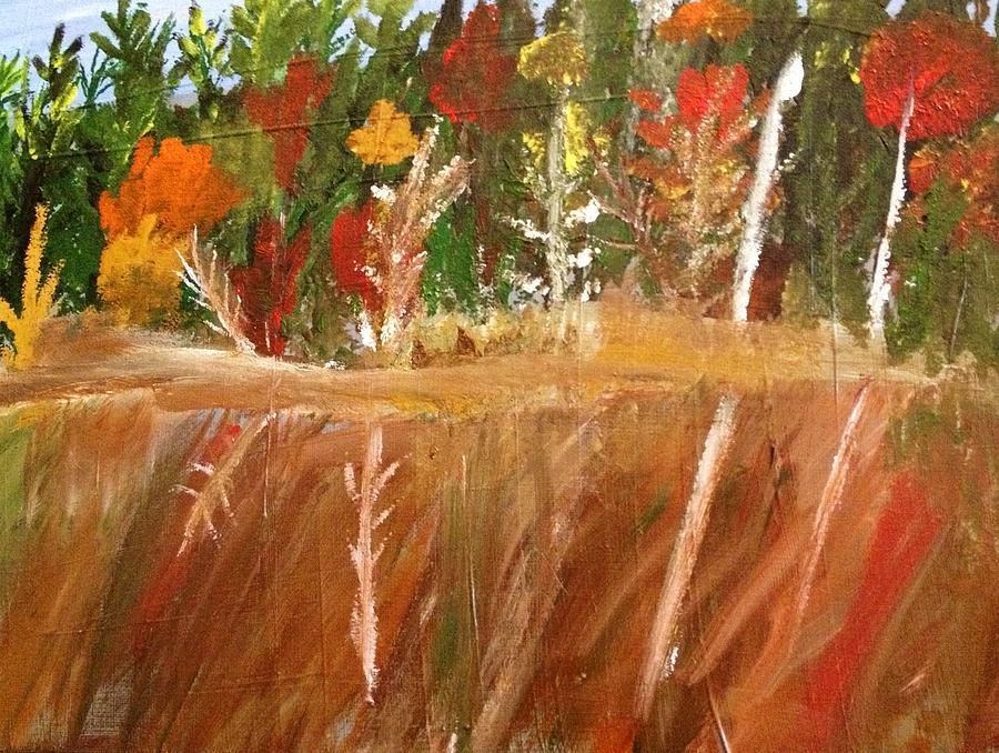 Fall Painting - Fall Reflection On Lake by Paula Brown