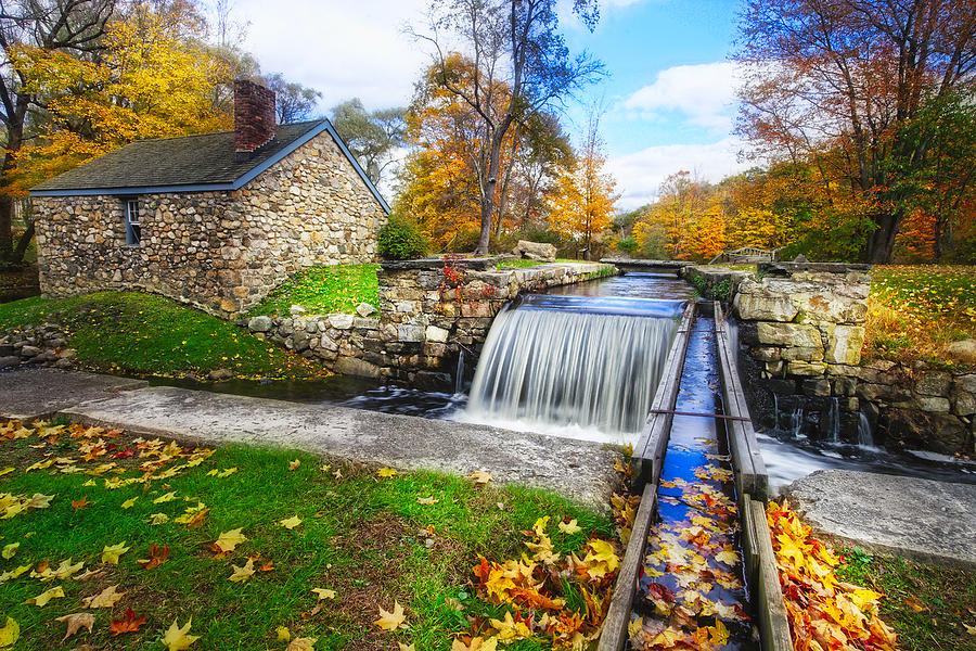 Fall Scenic View Stone House With A Creek Photograph By