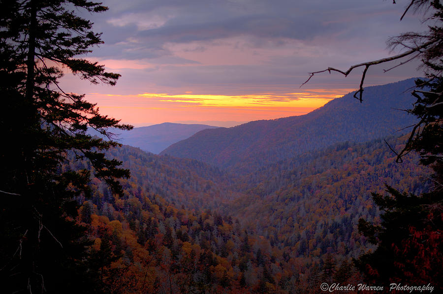 Sunset Photograph - Fall Sunset by Charles Warren
