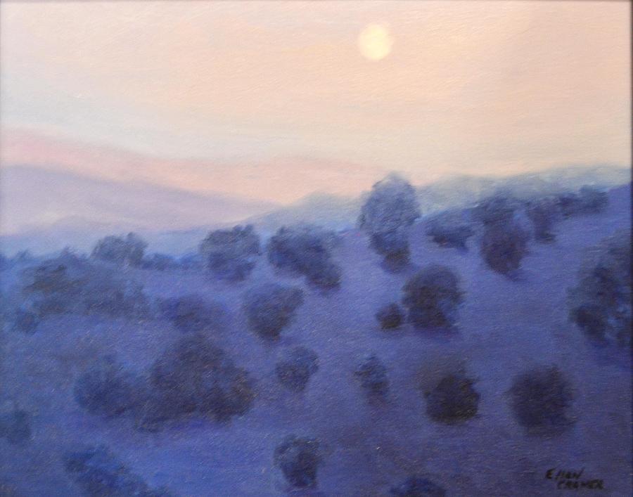 Landscape Painting - Fallbrook Moon by Ellen Cramer