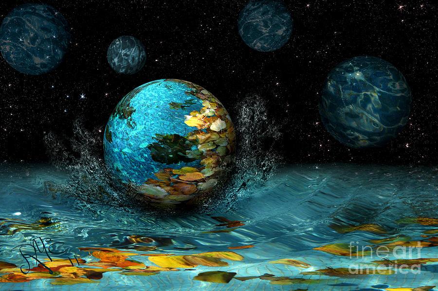 Spheres Digital Art - Falling Stars by Rosa Cobos