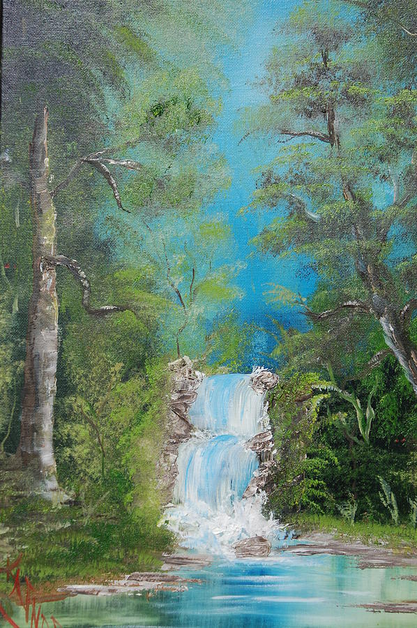 Waterfalls Painting - Falling With Grace by Katheryn Napier