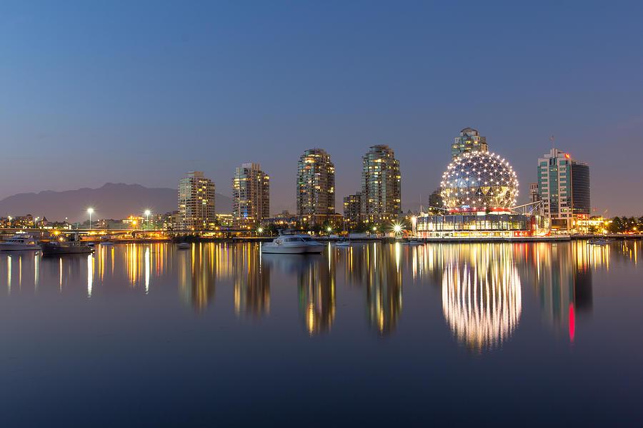 Vancouver Photograph - False Creek Reflections by Mirco Millaire