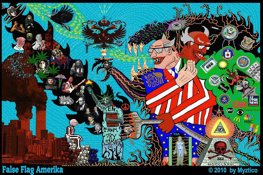 Satire Mixed Media - False Flag Amerika by Myztico Campo