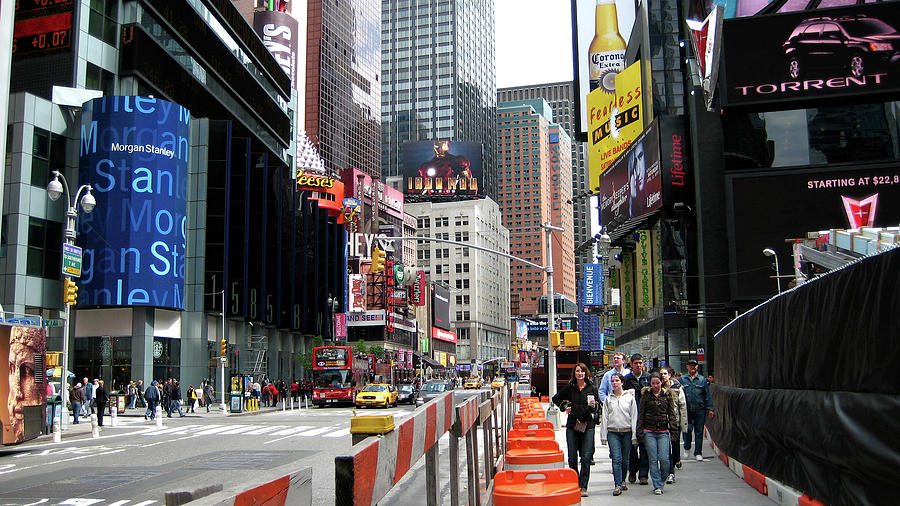 The Big Apple Photograph - Amidst Color And Construction In Times Square by Lorraine Devon Wilke