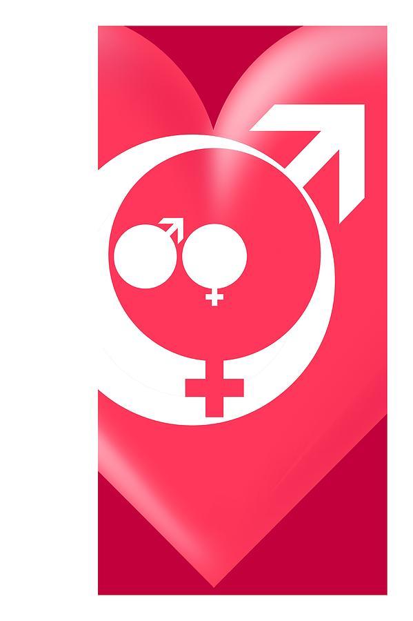 Symbol Photograph - Family Gender And Love Symbols by Detlev Van Ravenswaay