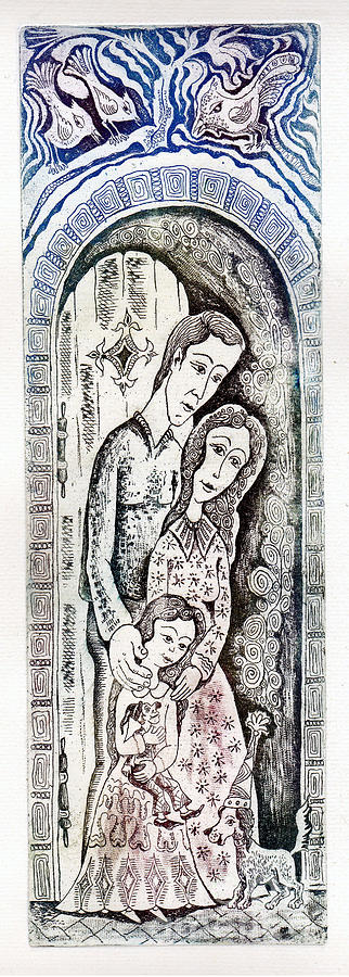 Family Drawing - Family by Milen Litchkov