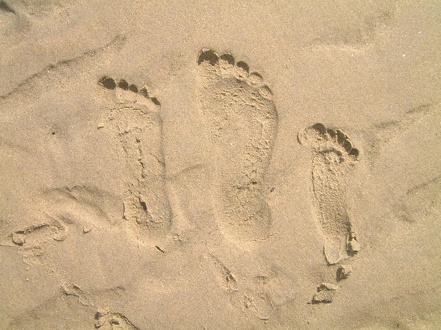 Family Of Three Footprints Photograph by Sven Migot