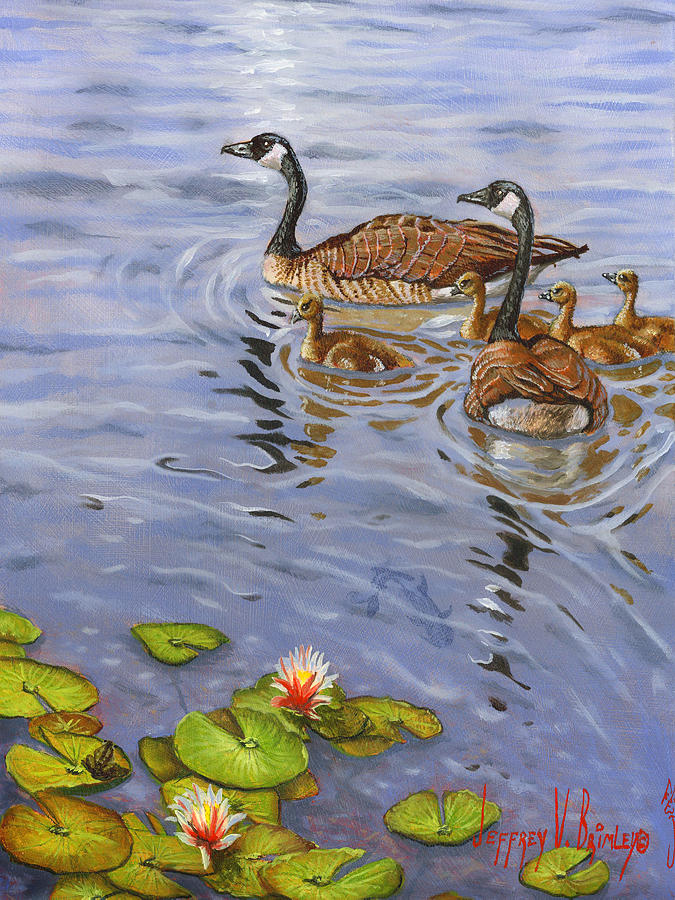 Canadian Geese Painting - Family Outing by Jeff Brimley
