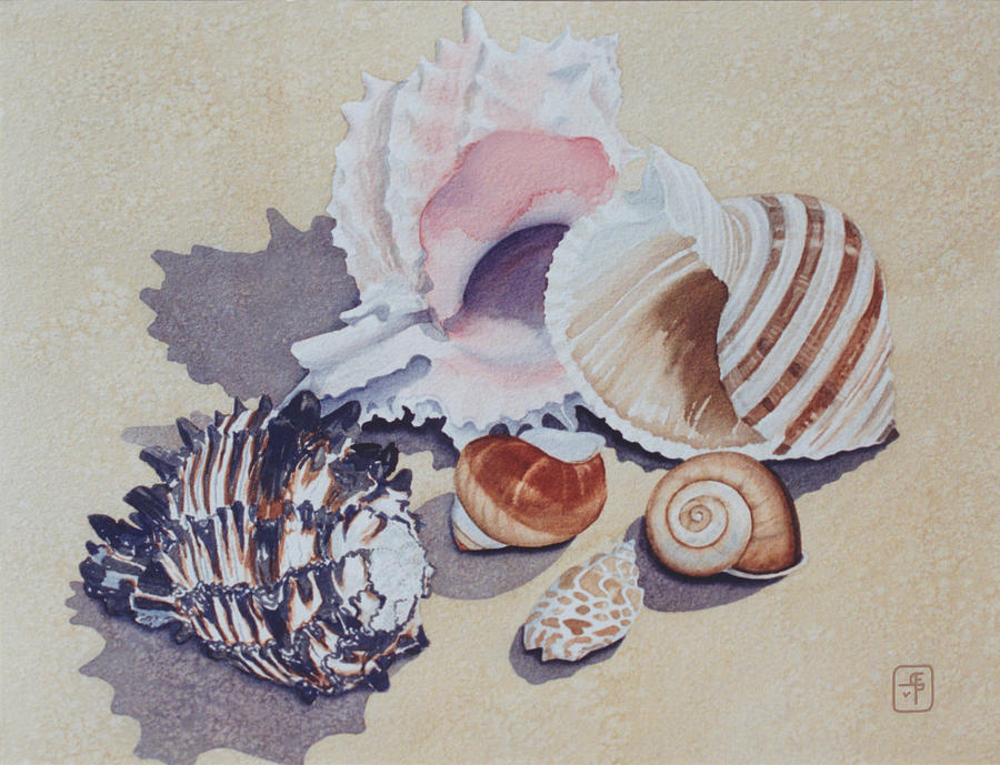 Seashells Painting - Family Portrait by Eve Riser Roberts