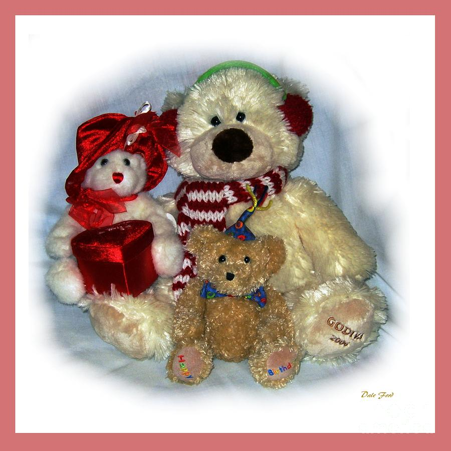 Bears Digital Art - Family Portrait Pink Border by Dale   Ford