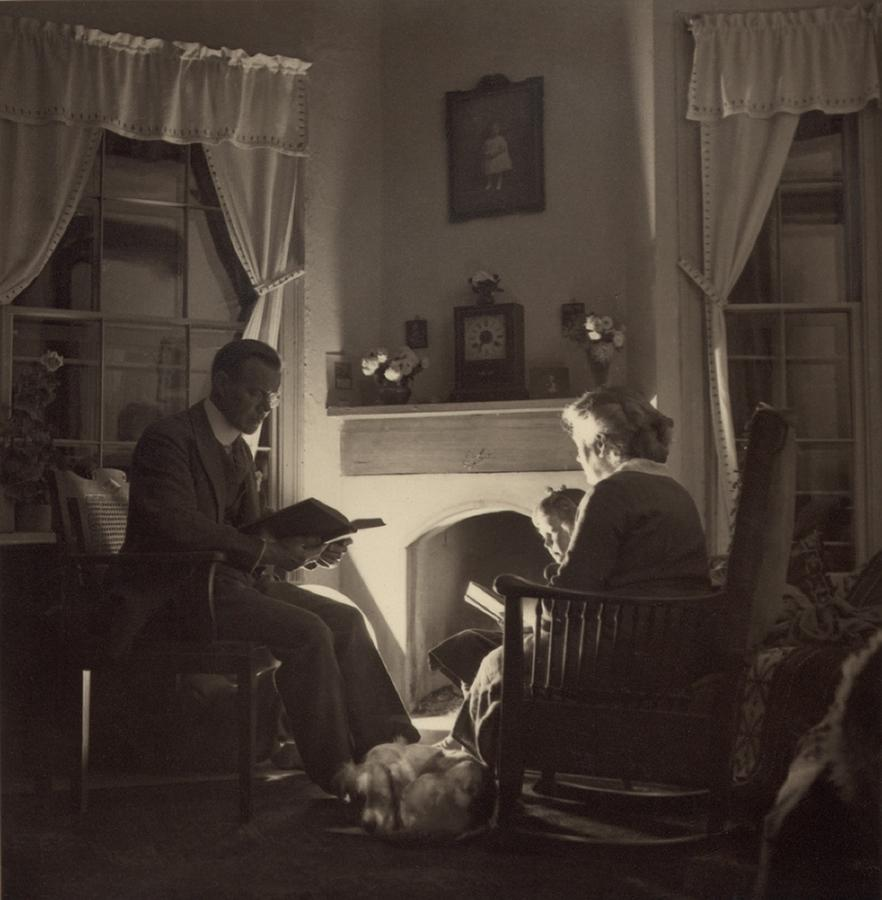 History Photograph - Family Reads At The Fireside. 1935 by Everett