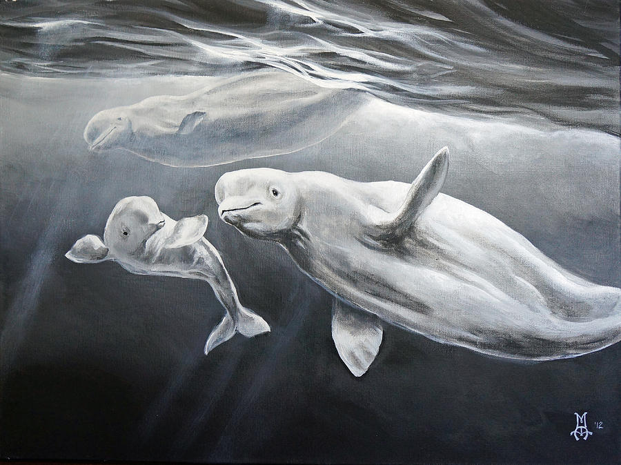 Beluga Painting - Family Ties by Marco Antonio Aguilar
