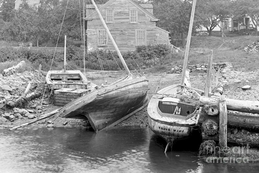 Family Wharf Photograph - Family Wharf At Kittery Point In Maine 1900 by Padre Art