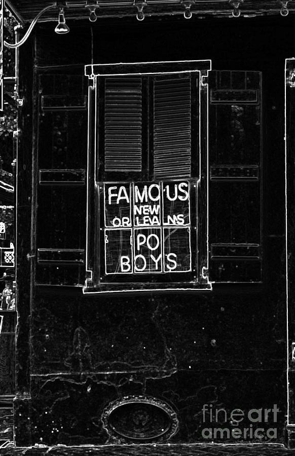 famous new orleans po boys neon window sign black and