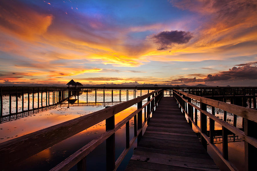 Sky Photograph - Fantastic Sky On Wood Bridge by Arthit Somsakul