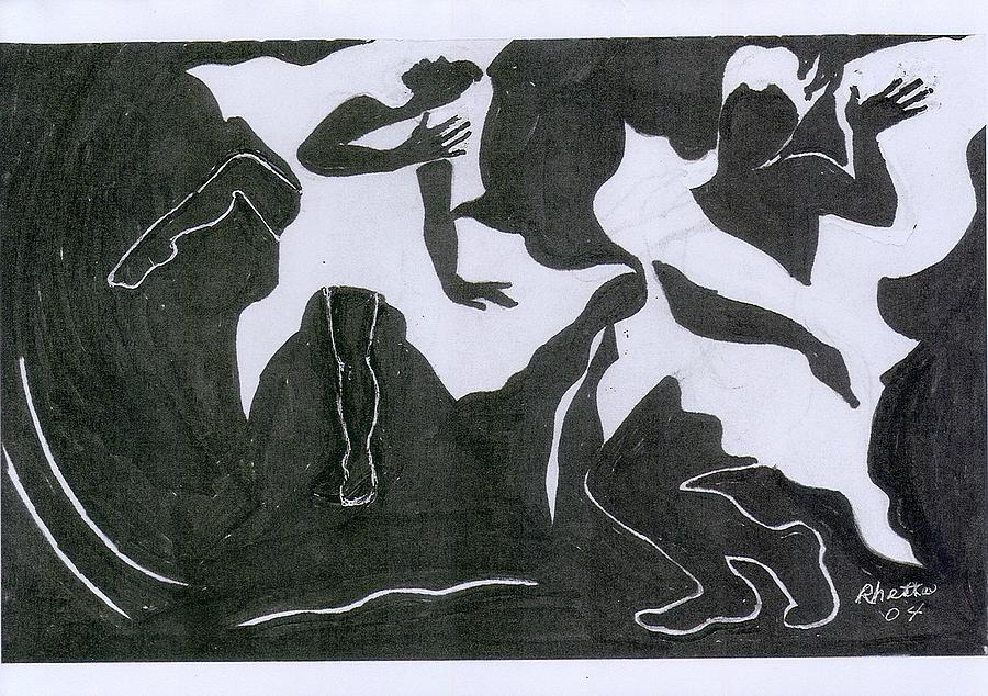 Women Drawing - Fantasy Dance by Rhetta Hughes