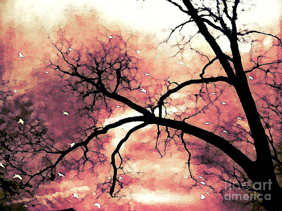 Fantasy Surreal Gothic Orange Black Tree Limbs  Photograph by Kathy Fornal
