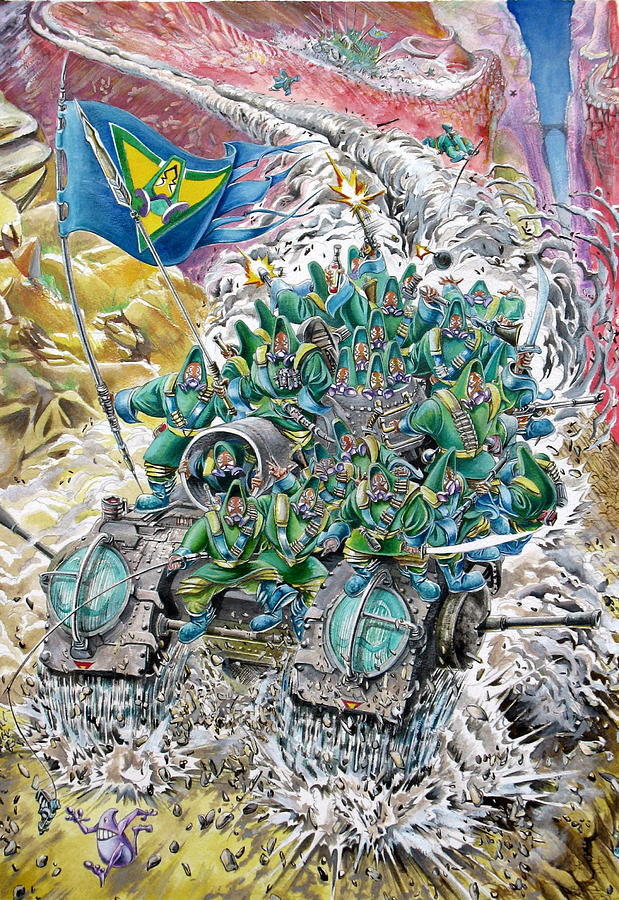 Tank Painting - Fantasy Tank Running Wild by Fabrizio Cassetta