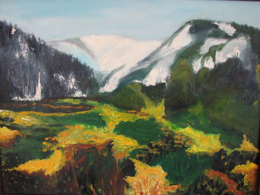 Yellow Painting - Far Away Mountains by Iris Nazario Dziadul