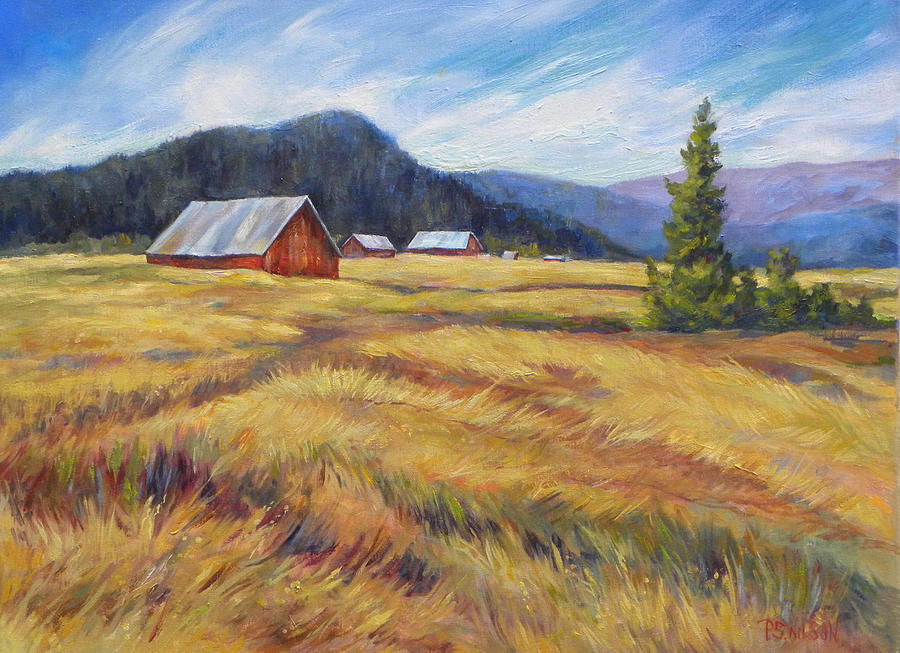 Farm And Stubble Field Painting By Peggy Wilson