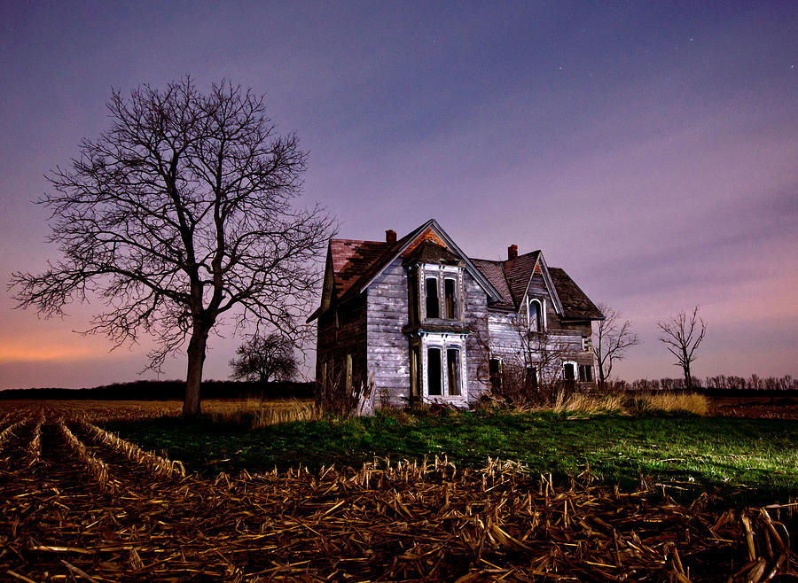 farm house at night photograph by cale best